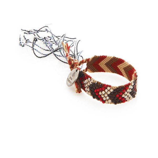 Red & Brown Wayuu Bracelet with Swarovksi Crystals