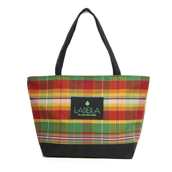 Red Green Yellow Plaid Cotton Tote