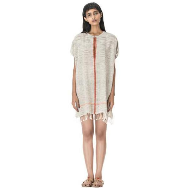 Gray & Orange Shalini Uma Cotton Caftan