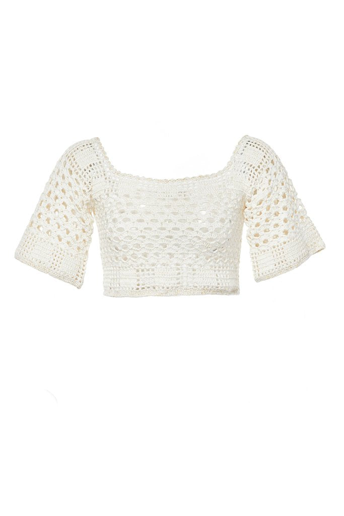 Sintra Ecru Cotton Crop Top