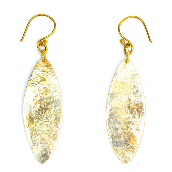 Brass Hammered Oval Earrings