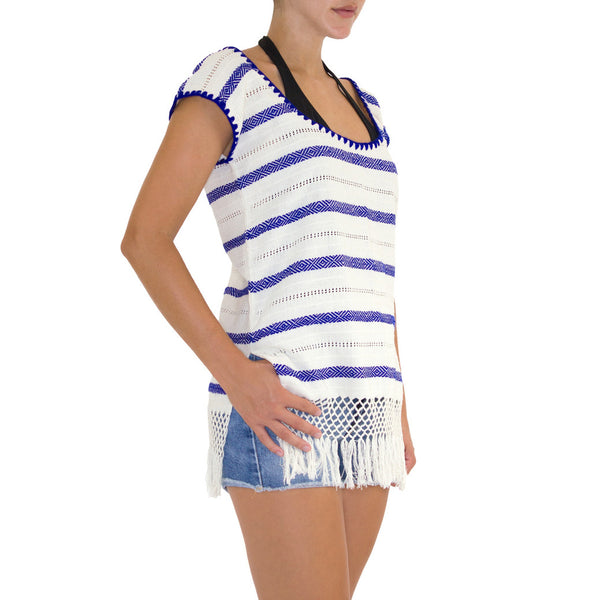 Navy 'Lidia' Striped Top