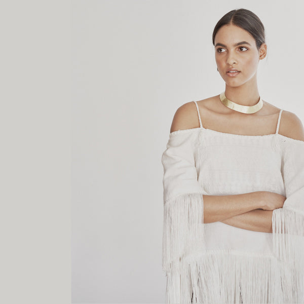 White Cotton Fringe Poncho Top