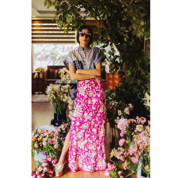 Pink Flamingo Embroidered Maxi Skirt