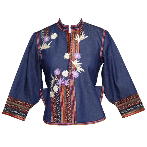 Scarlet Finch Denim Embroidered Jacket