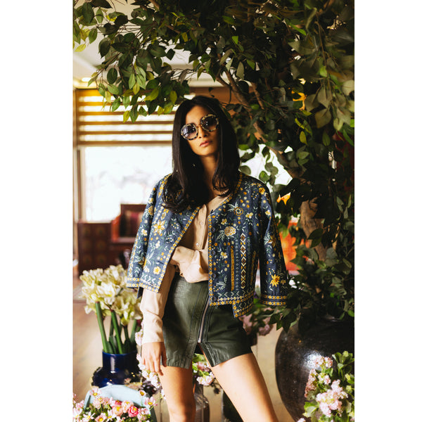 Indigo Bunting Embroidered Denim Jacket