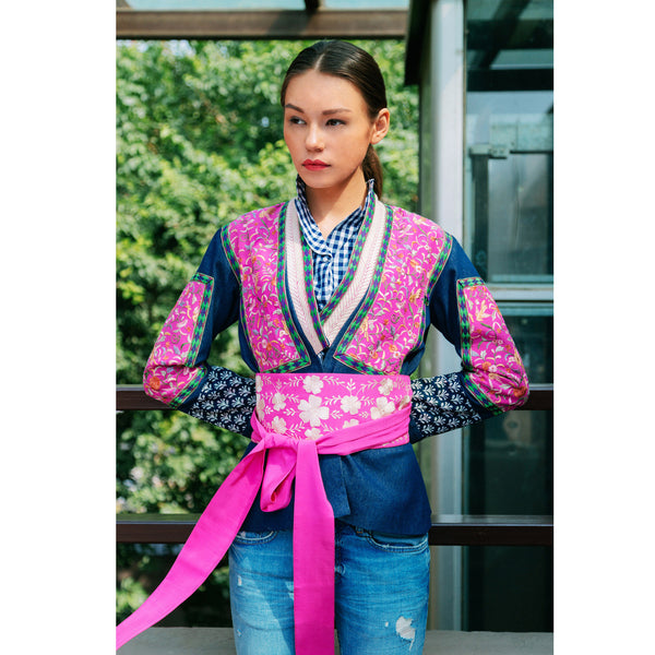 The Hummingbird Pink Denim Embroidered Jacket