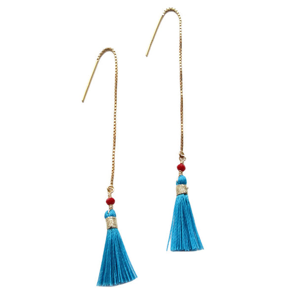 Blue Tassel Spirit Earrings