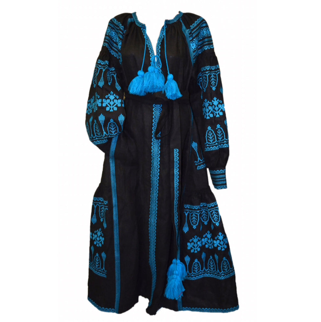 Long Black & Blue Embroidered Dress