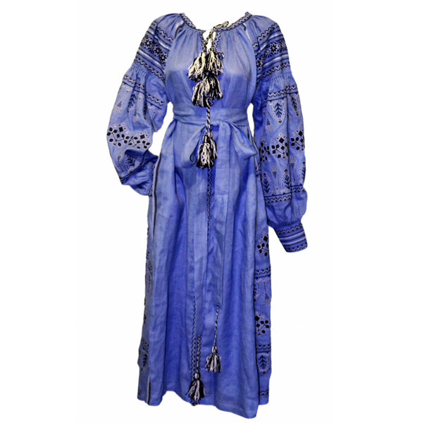 Blue Grey Vyshyvanka Embroidered Long Dress
