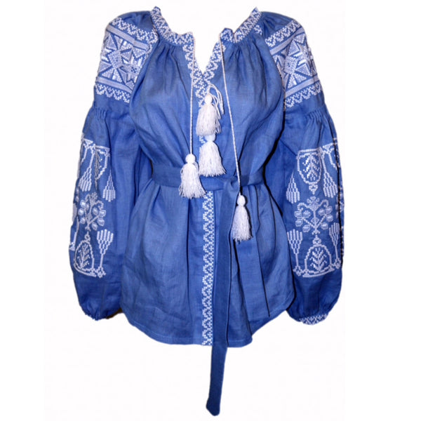 Blue Embroidered Blouse