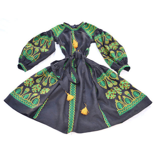 Long Black & Green Embroidered Dress
