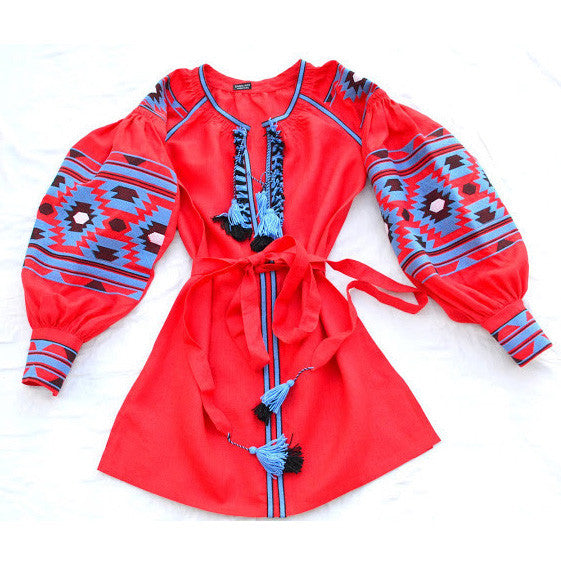 Red Vyshyvanka Embroidered Blouse