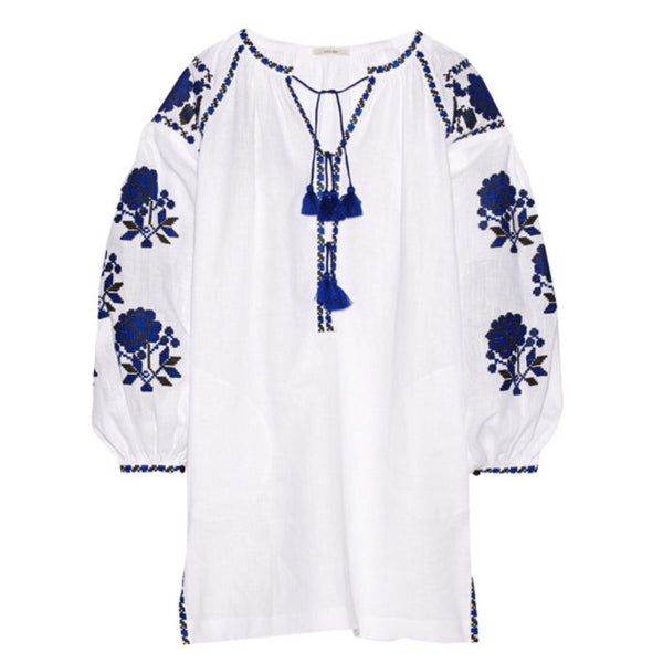 White Vyshyvanka Embroidered Dress