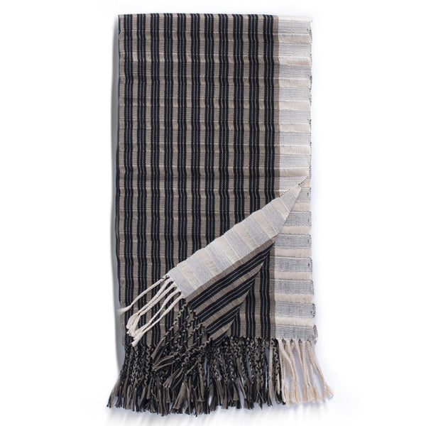 Beige, Black and Cream Cotton Striped Rebozo