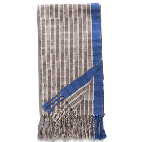 Beige, Cream and Blue Cotton Striped Rebozo