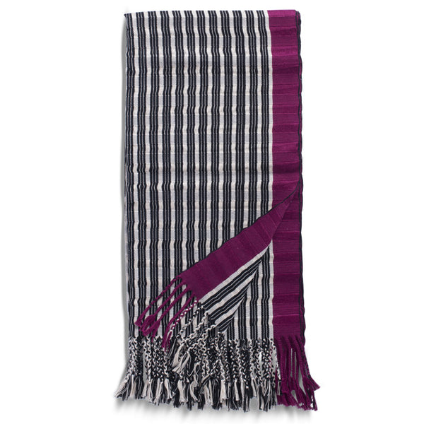 Cherry, Cream and Black Cotton Striped Rebozo