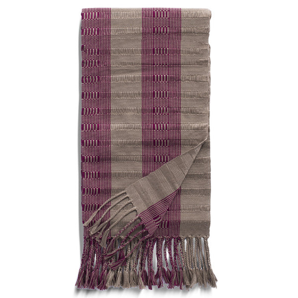 Wine and Grey Cotton Rebozo