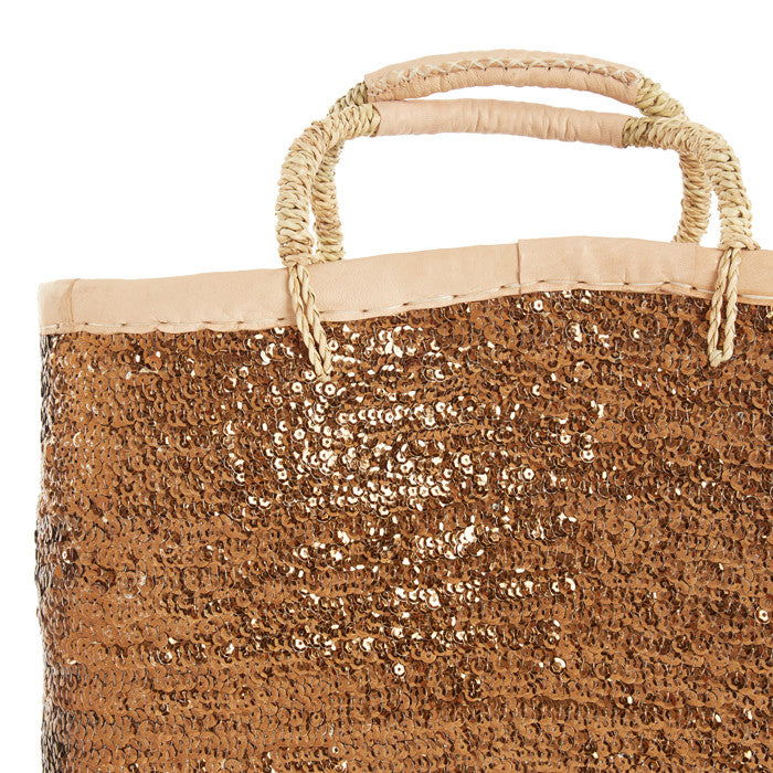 Copper Sequined Tall Raffia Tote
