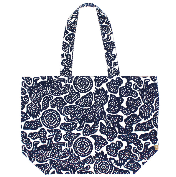 Indigo Hand-dyed Cotton Foo Dog Tote Bags