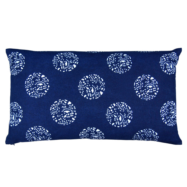 Indigo Hand-dyed Cotton Dot Dot Pillow