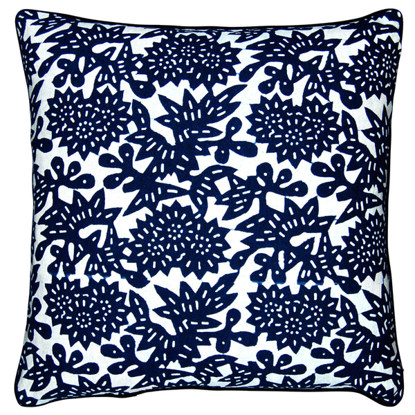 Indigo Hand-dyed Cotton Flower Pillow