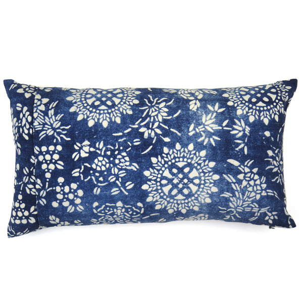Vintage Indigo Hand-dyed Cotton Mystic Knot Pillow