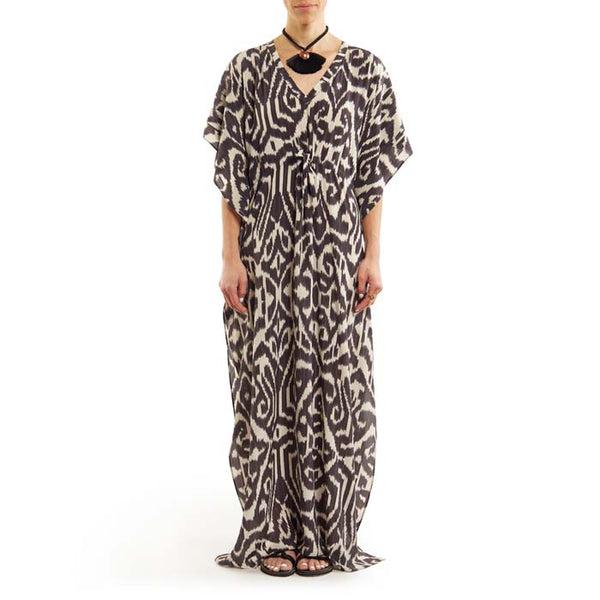 Black and White Long Luce Caftan with Drawstring