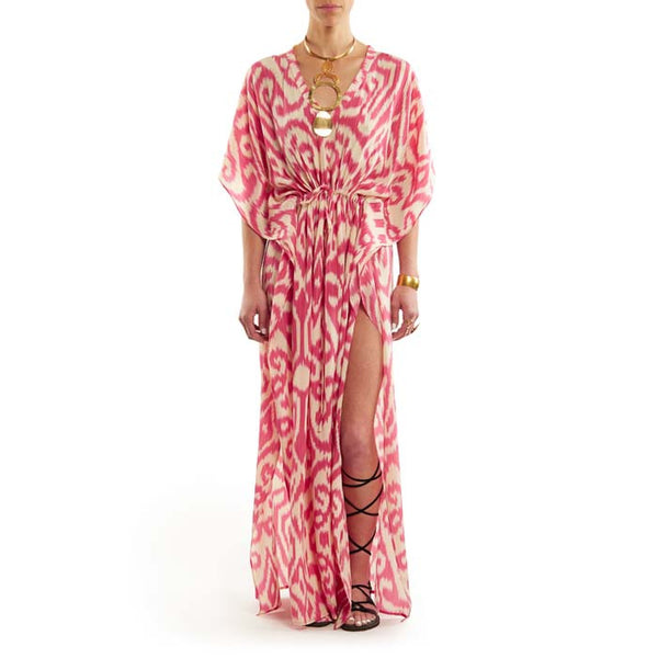 Pink Long Luce Caftan with Drawstring