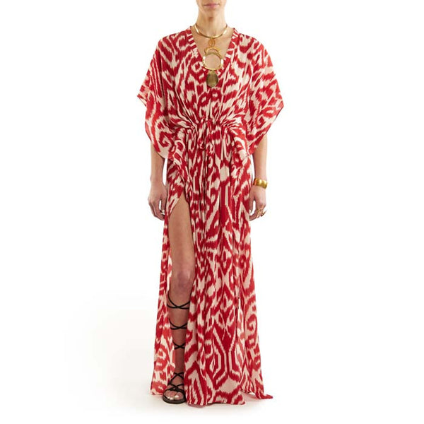 Red Long Luce Caftan with Drawstring