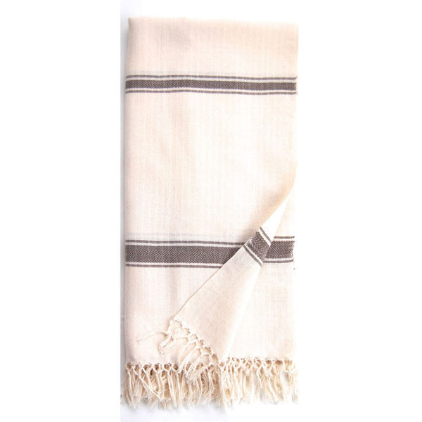 Heather Grey Cotton Cream Eshe Kikoy Scarf
