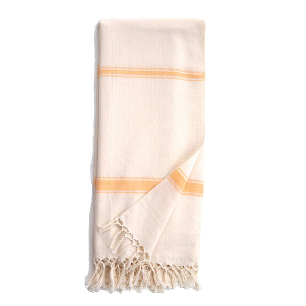Pale Yellow Cotton Cream Eshe Kikoy Scarf