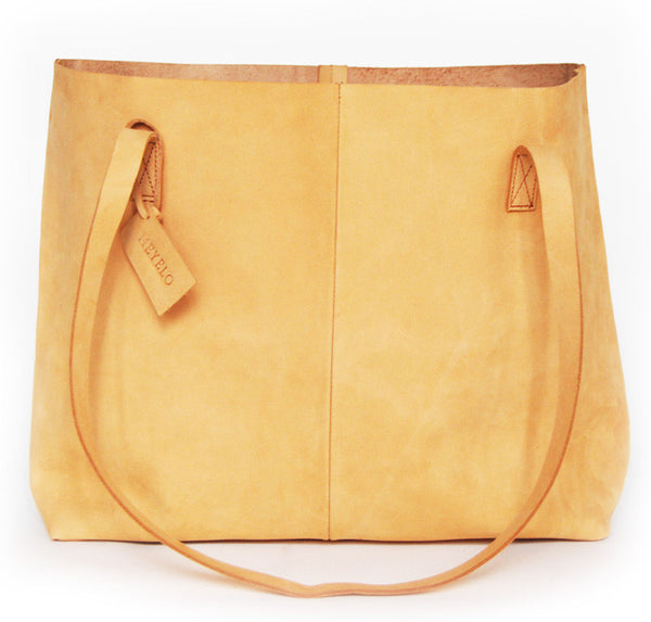 Tan Leather Nubuck Tote