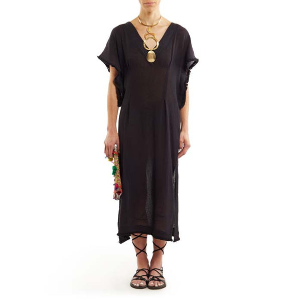 Black Cotton El Tule Caftan
