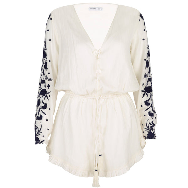 Embroidered Cotton 55 Playsuit