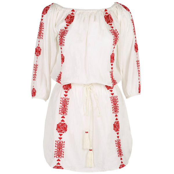 Embroidered Cotton Bardot Dress