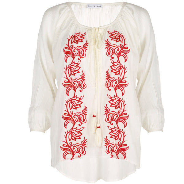 PAMPELONE, Embroidered Cotton Graniers Blouse