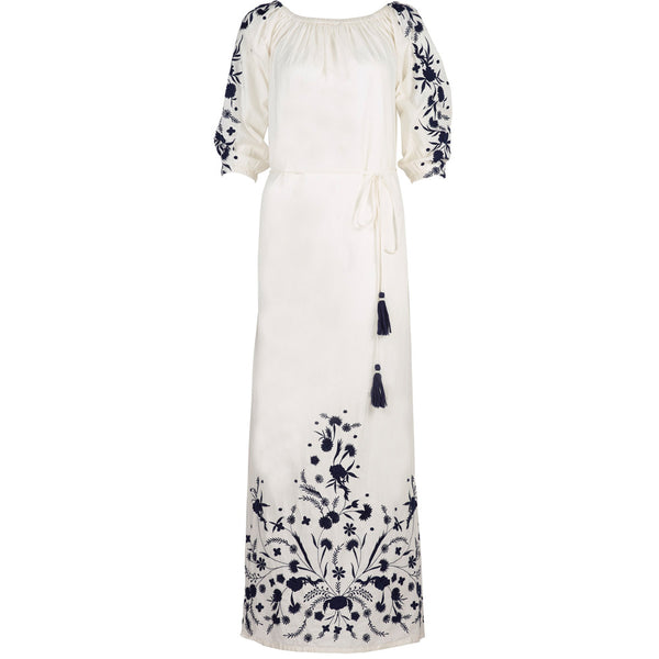 Embroidered White Cotton Grimaud  Maxi Dress