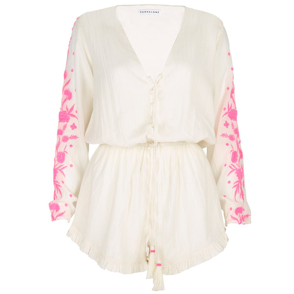 Embroidered Cotton Ponnant Playsuit