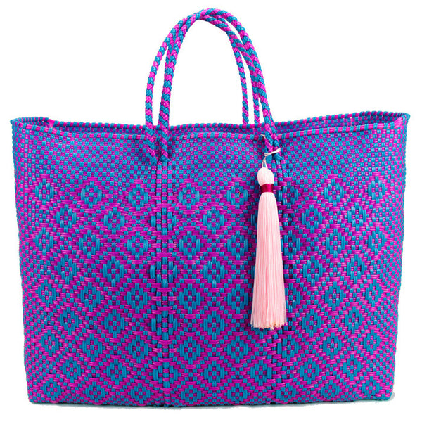 Aqua and Hot Pink Stella Unlined Short Handle Tote