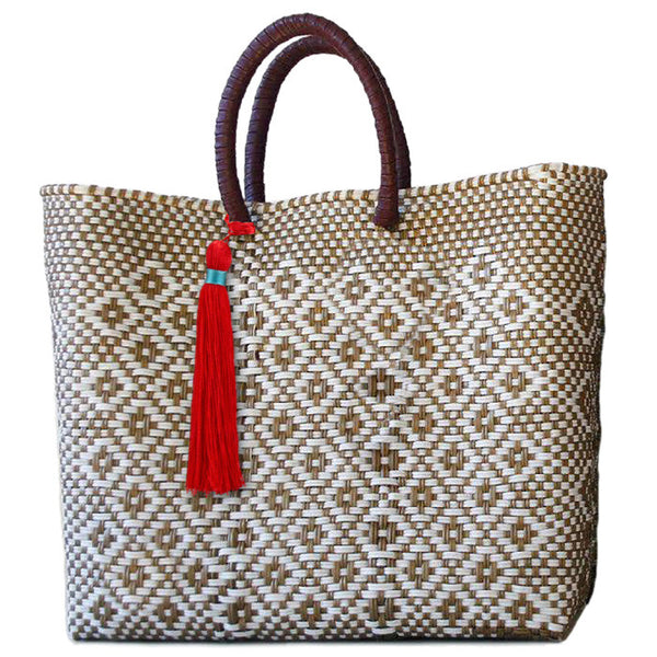 BOUTIQUEMEXICO, Gold and White Stella Lined Short Handle Tote