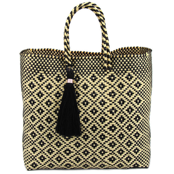 BOUTIQUEMEXICO, Black and Yellow Stella Unlined Short Handle Tote