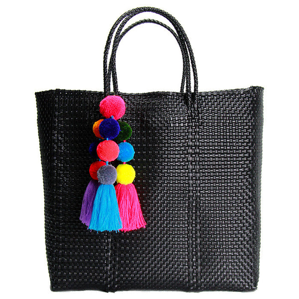 Black Medium Short Handle Tote