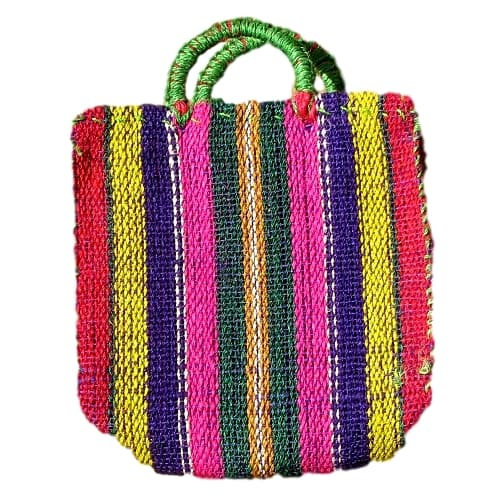Multicolored Natural Fiber Tote Bag