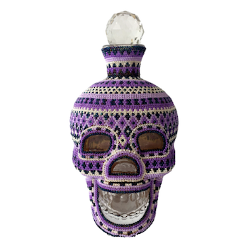 Purple Crystal Huichol Skull Decanter