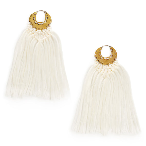 White Tassel Erin Earrings