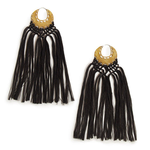Black 'Erin' Tassel Earrings