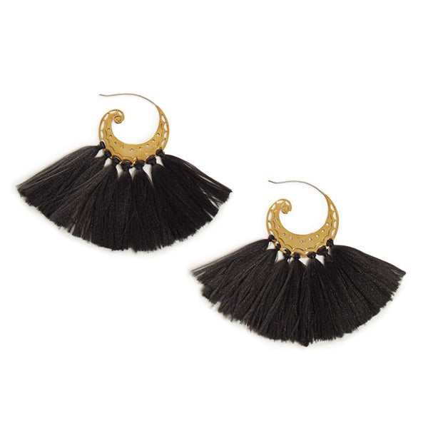 Black Brass Tassel Elsa Earrings
