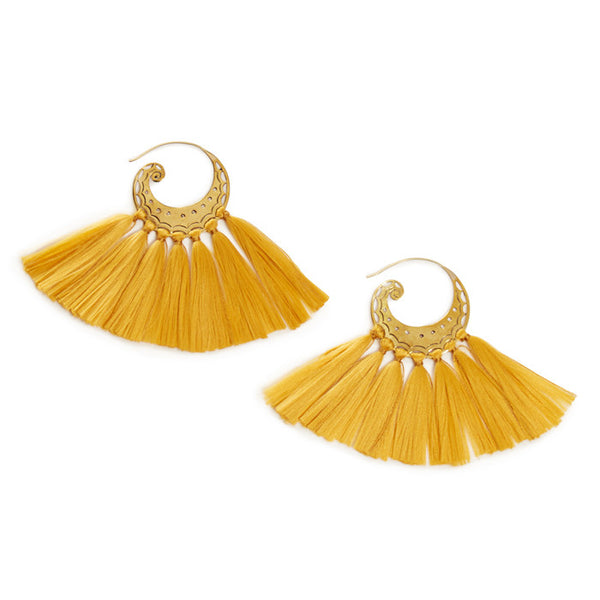 Mustard Brass Tassel Elsa Earrings