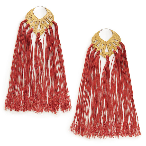 Garnet Brass Tassel Elizabeth Earrings